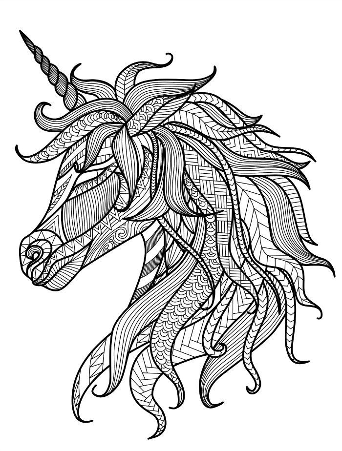 700x924 Pretty Unicorn Adult Coloring Page Color Animals