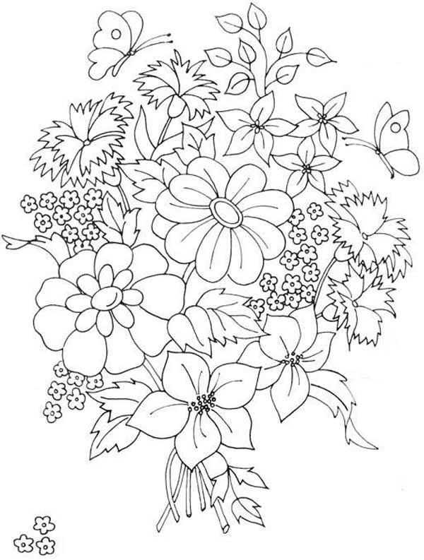 600x793 Beautiful Flower Bouquet Coloring Page Color Luna