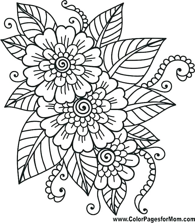 640x732 Coloring Pages Flowers Fancy Flowers Coloring Pages About Remodel