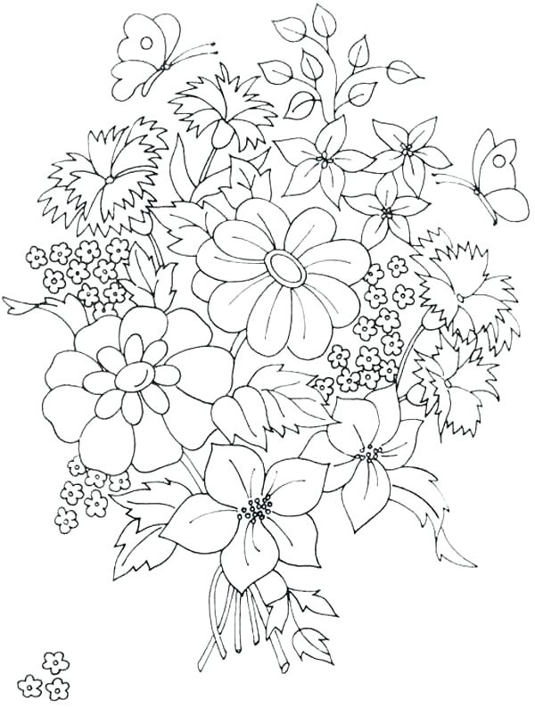 600x793 Pretty Flower Coloring Pages Pretty Flower Coloring Pages