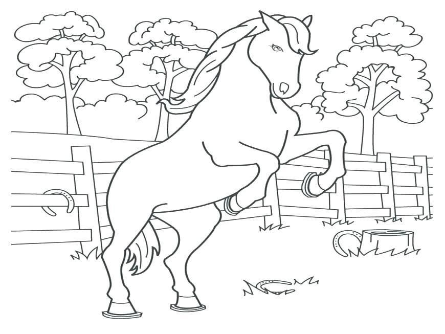 870x653 Pretty Horse Printable Coloring Pages Kids Jumping Perfect