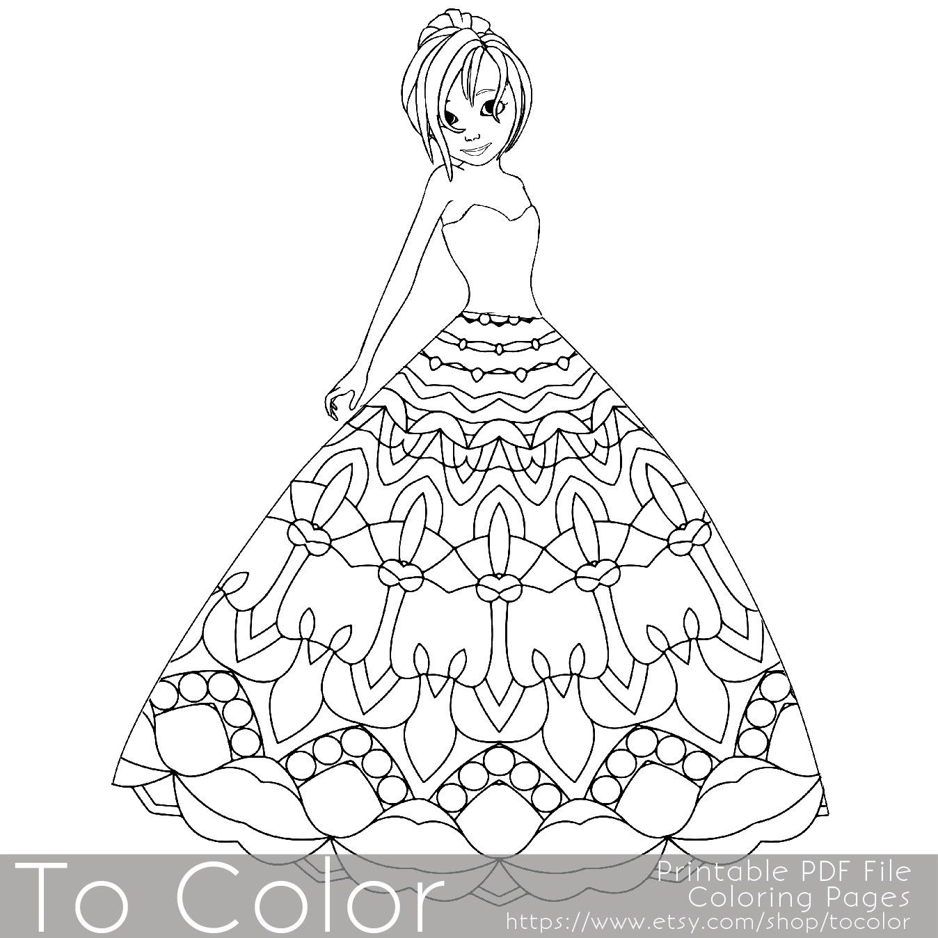 1348x1348 This Printable Coloring Page For Grownups Features A Princess
