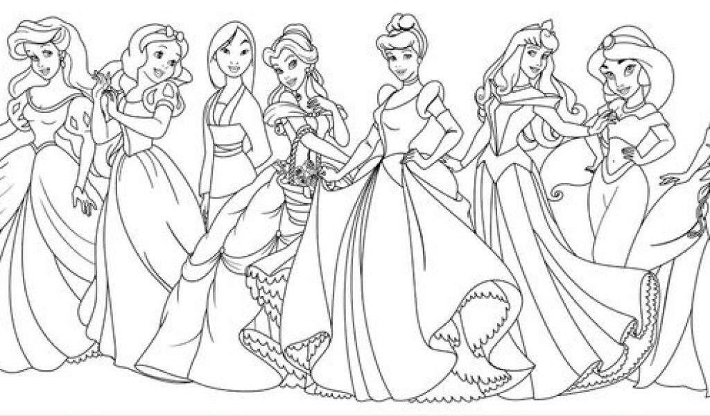 1024x600 All Disney Princess Coloring Pages Pretty Princess Coloring