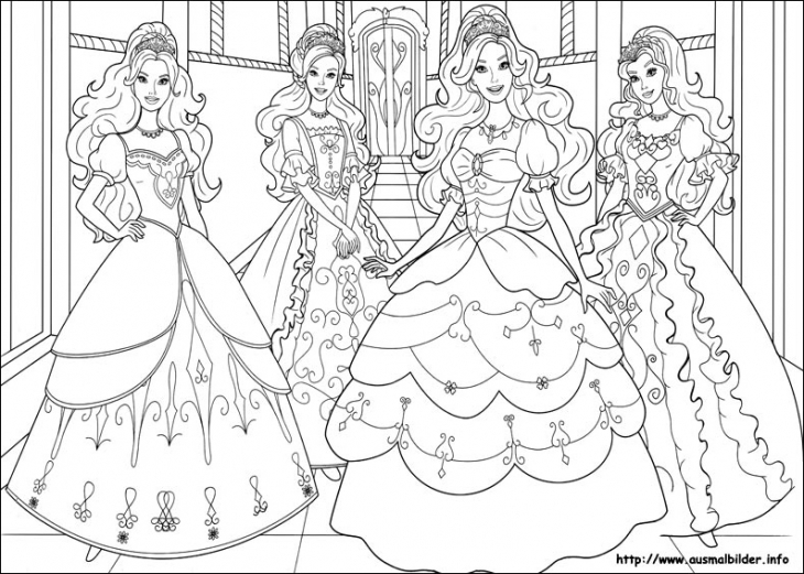 730x521 Beautiful Barbie Princesses Coloring Page For Little Girls