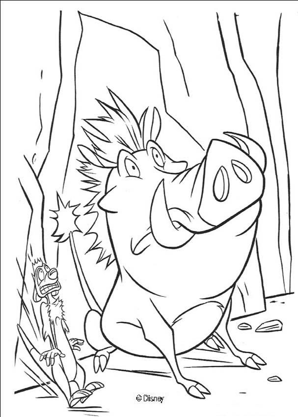 607x850 Terrified Pumbaa Timon Coloring Page Coloring Pages