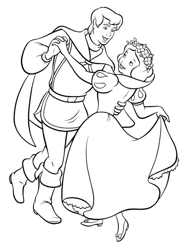 650x841 Prince Charming Coloring Pages Snow White With Prince Charming