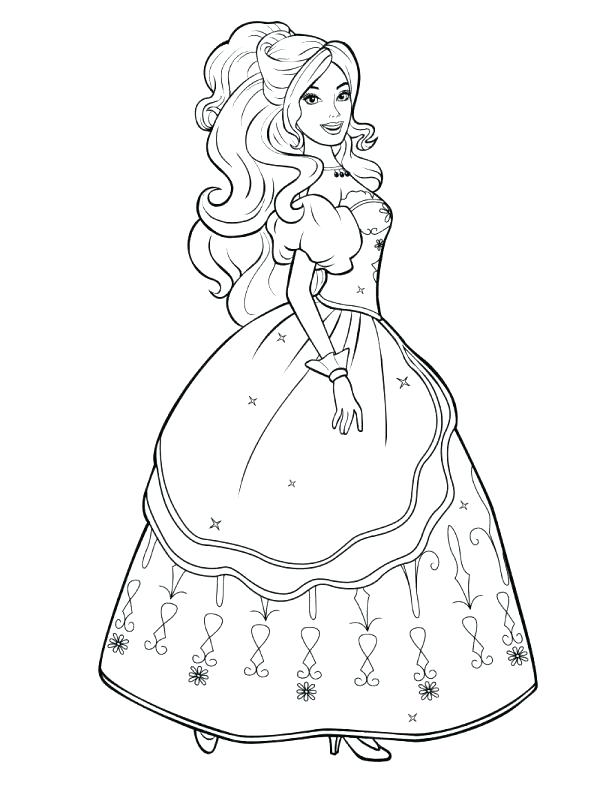 615x795 Coloring Page Princess Barbie Princess Coloring Page Princess