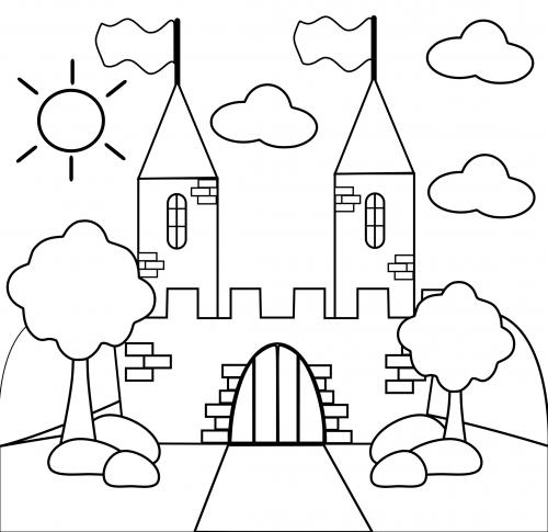 500x485 Preschool Coloring Page Castle