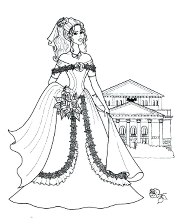 600x750 Princess Castle Coloring Pages Princesses Standing In Front Of Her
