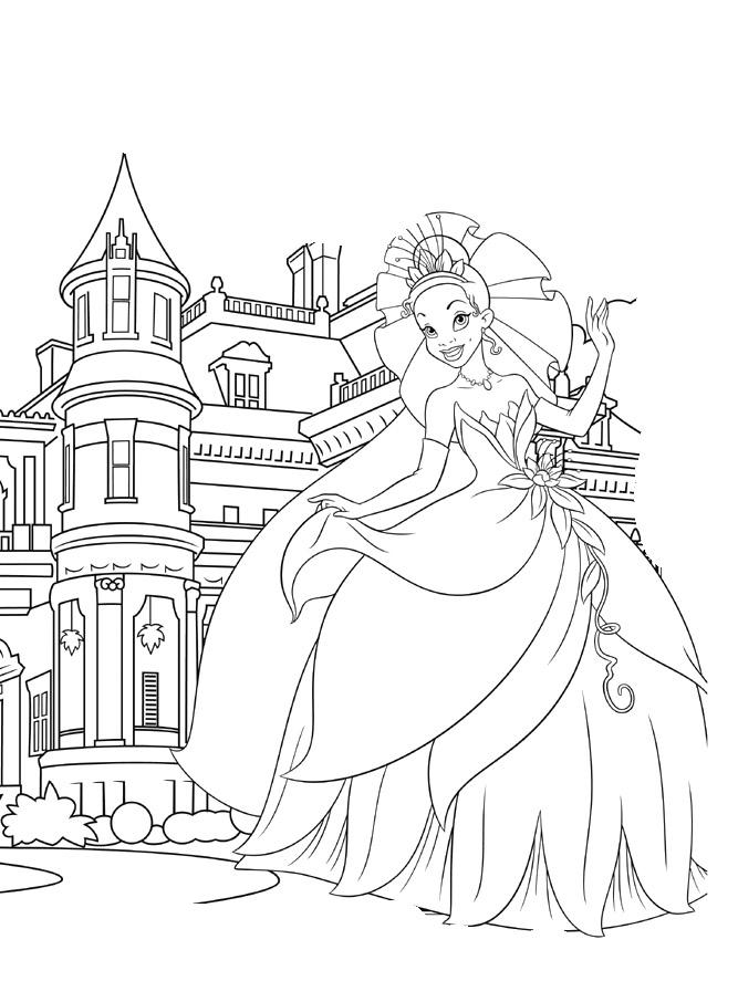 667x906 Princess Tiana Coloring Pages Castle