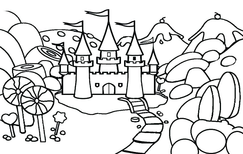850x540 Castle Coloring Pages Free Adult Colouring Page