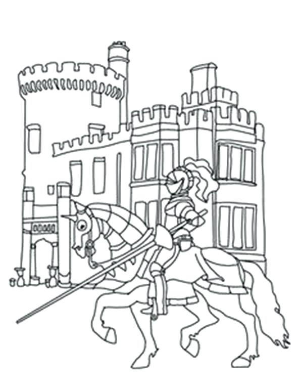 600x773 Castle Coloring Pages Knights Knights In Front Of Castle Coloring