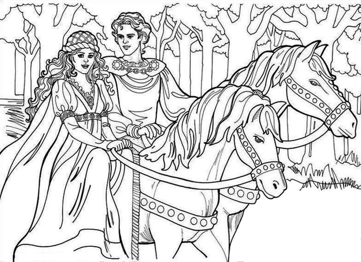 Princess And Horse Coloring Pages