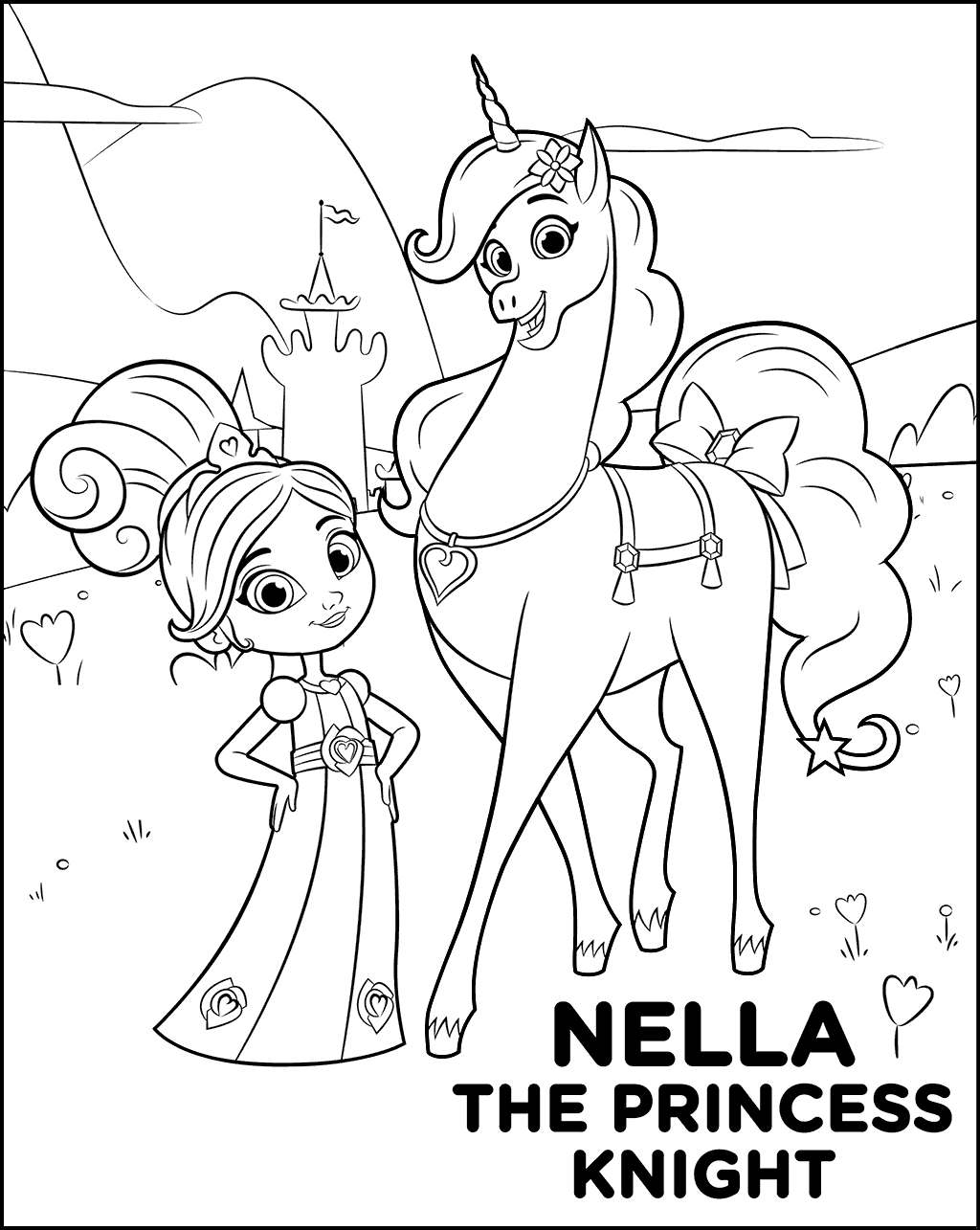 1024x1285 Nella The Princess Knight Coloring Pages
