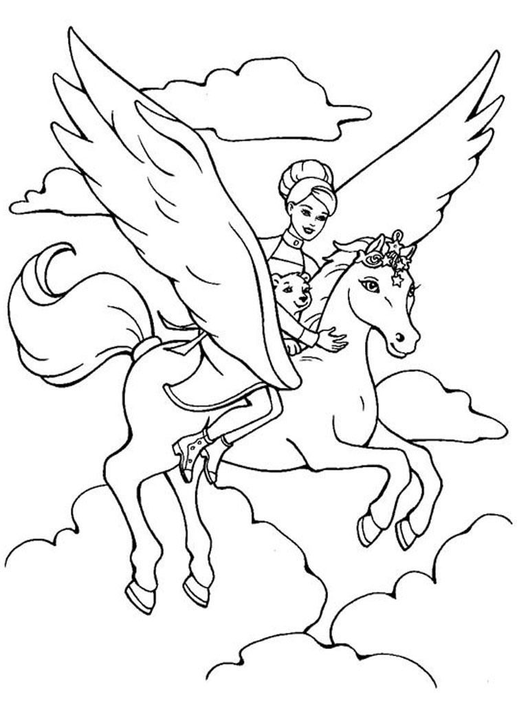 Princess And Unicorn Coloring Pages