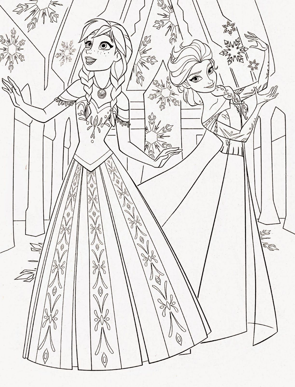 1223x1600 Disney Princess Frozen Elsa And Anna Coloring Pages Recreational
