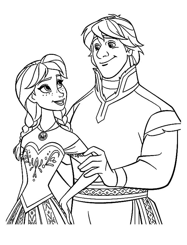 600x782 Lovely Couple Princess Anna And Kristoff Coloring Pages