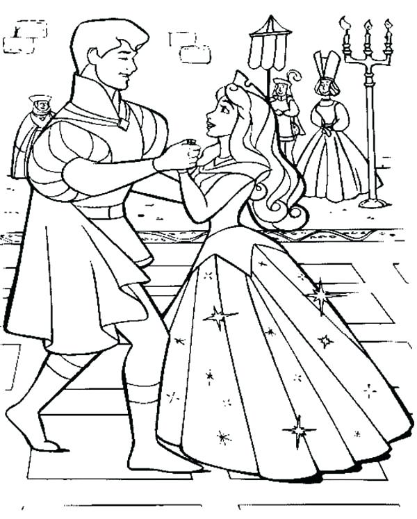 600x747 Coloring Pages Sleeping Beauty Princess Aurora Wedding Dance
