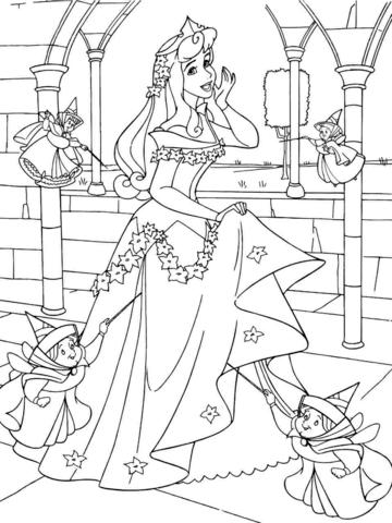 360x480 Princess Aurora With Good Fairies Coloring Page Free Printable
