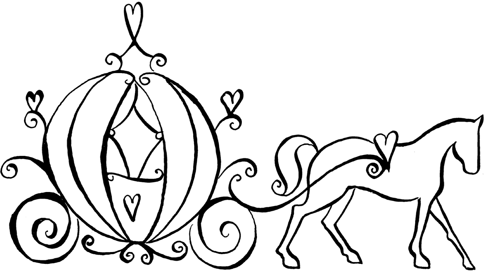 1600x910 Cinderella Carriage Coloring Pages Pleasing