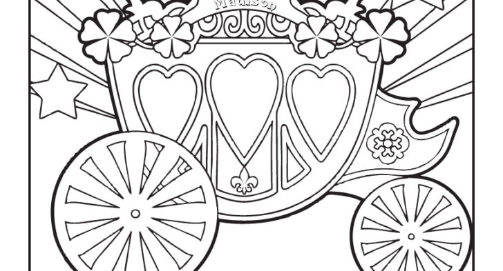 728x393 Cinderella Carriage Coloring Pages Princess Carriage Coloring Page