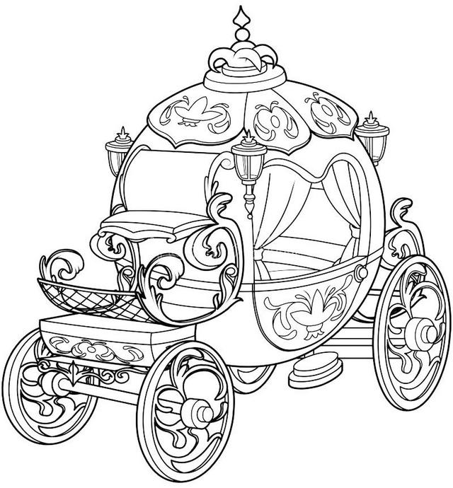 640x690 Enchanting Cinderella Carriage Coloring Pages For Your Princess