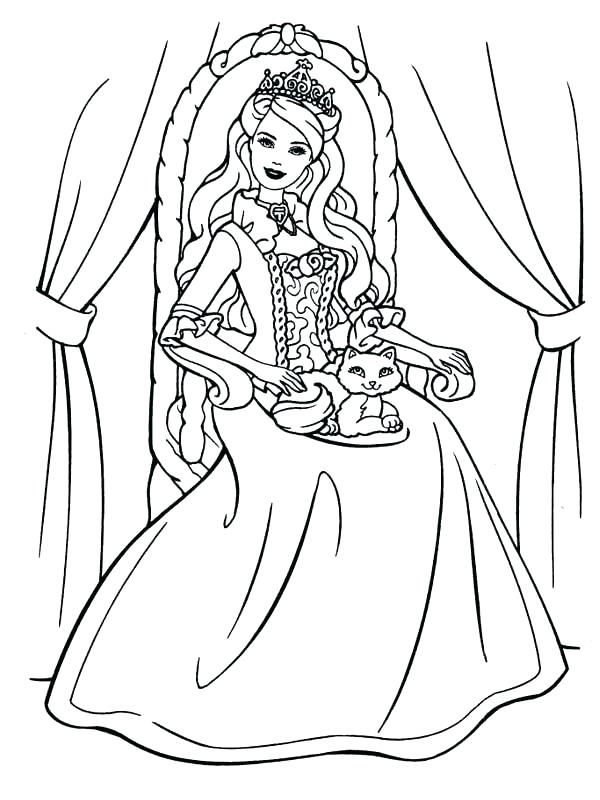 Princess Cat Coloring Pages