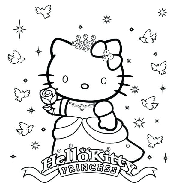 600x611 Pricess Coloring Page Princess Hello Kitty Coloring Pages Cartoon