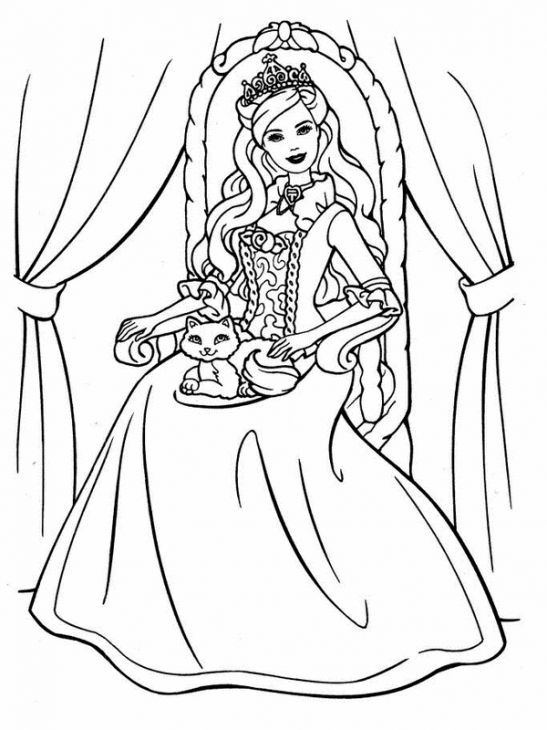 547x730 Princess Barbie With A Cat Coloring Page Online Printable
