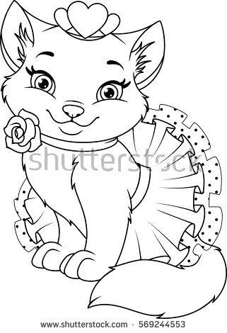 321x470 Princess Cat Coloring Pages