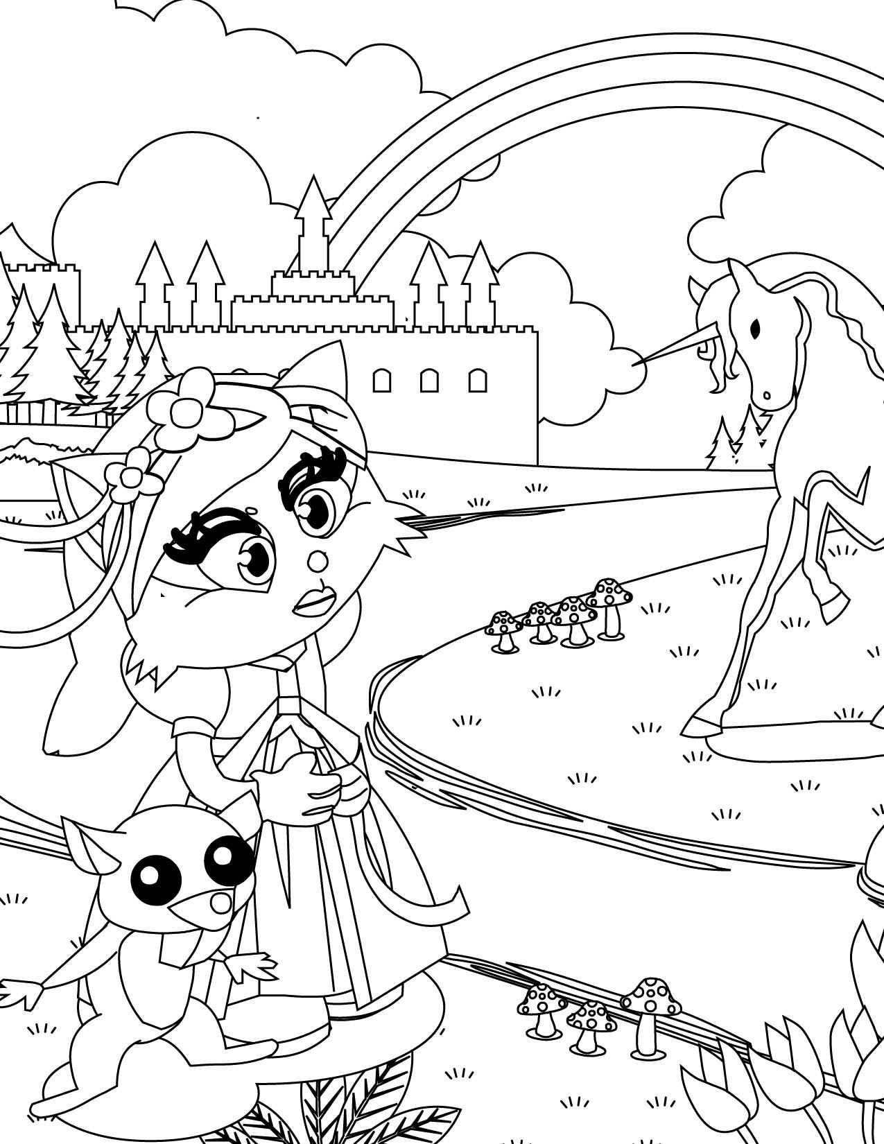 1275x1650 Appealing Cat Princess Coloring Printable Image Of Page Style
