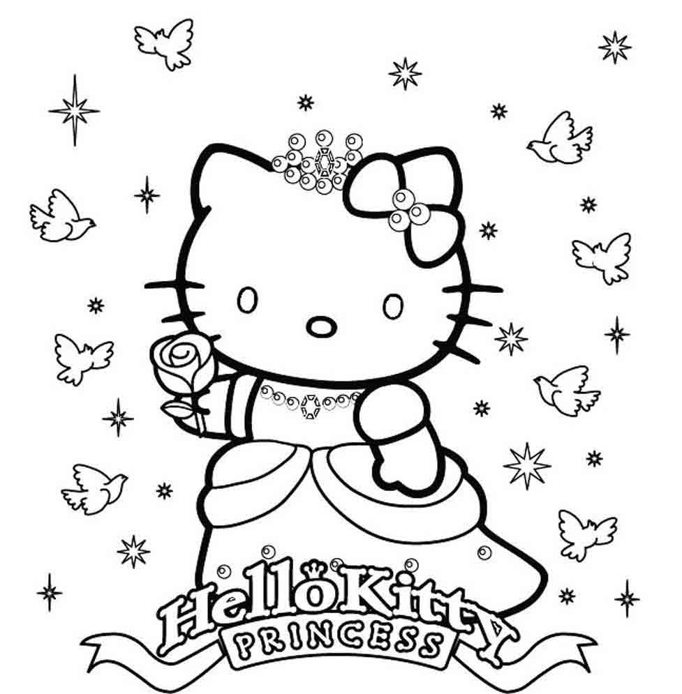 977x995 Princess Hello Kitty Coloring Pages Lively Pictures To Print