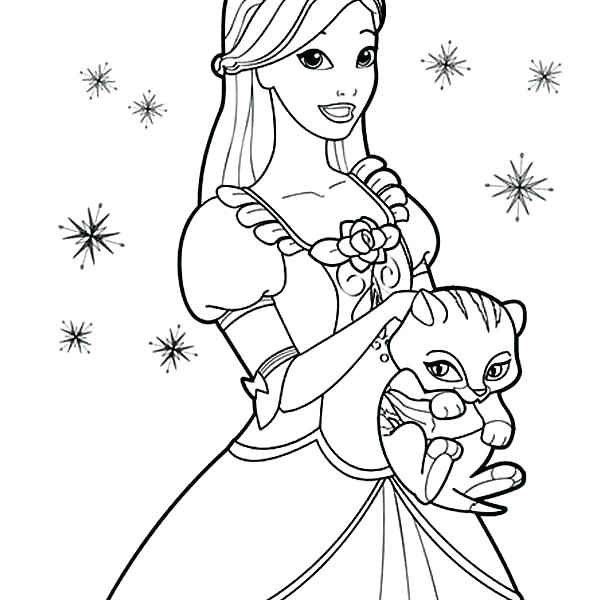 600x600 Sun Coloring Page Princess Cat Coloring Pages Cute Cat And Barbie