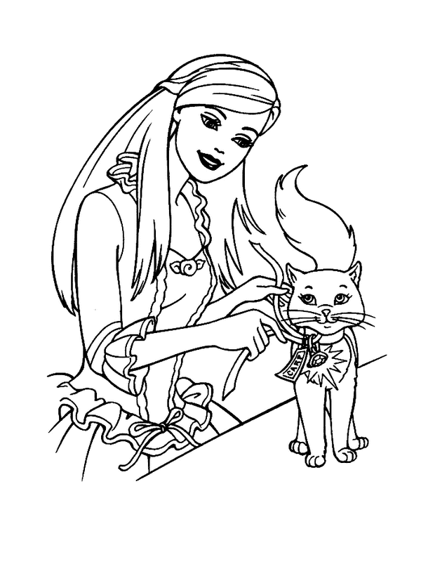 600x800 Barbie Princess With Cat Coloring Pages For Girls