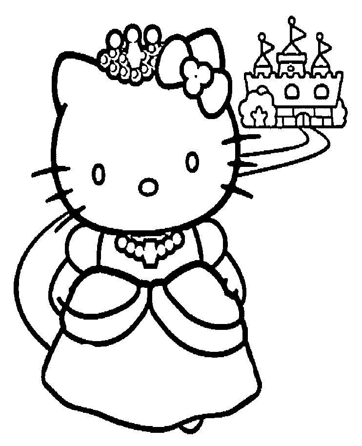 742x914 Hallo Kitty Princess Coloring Page Printables