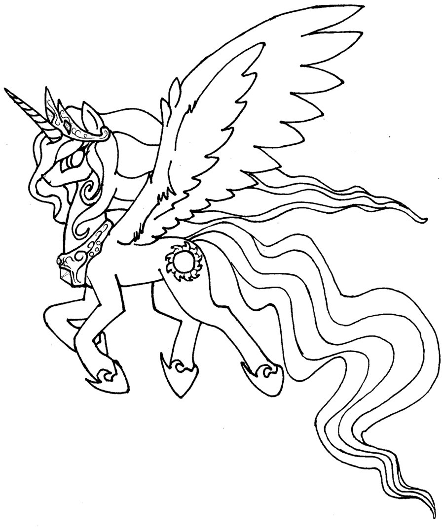 900x1070 My Little Pony Princess Celestia Coloring Pages