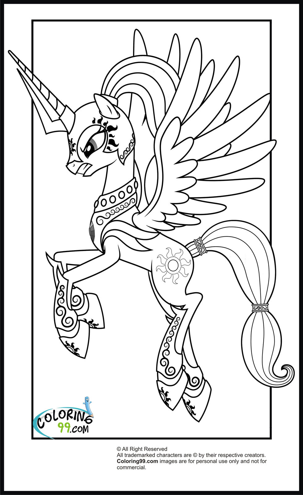 980x1600 My Little Pony Princess Celestia Coloring Pages For Kids Tearing