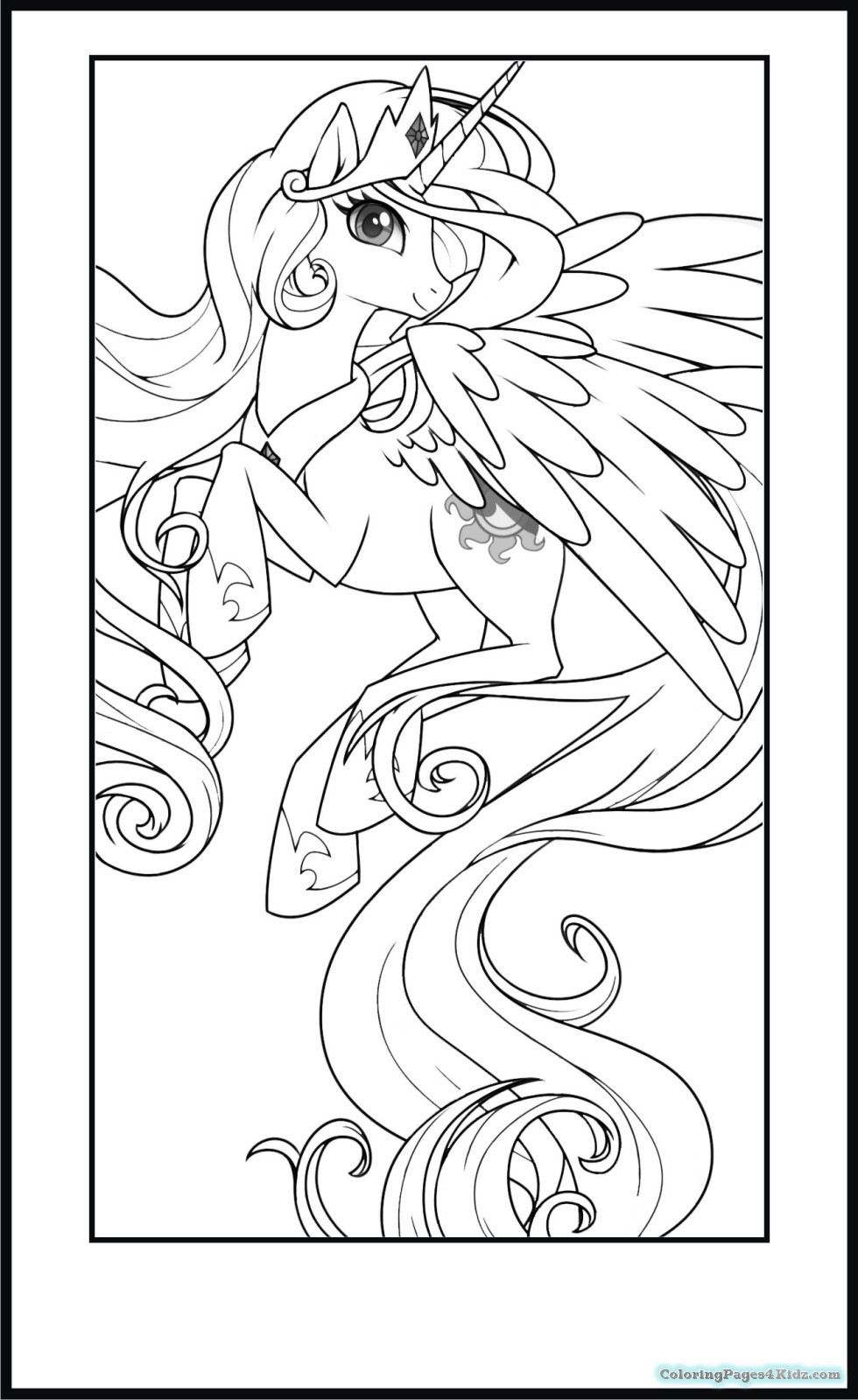 980x1600 My Little Pony Princess Celestia Coloring Pages To Print