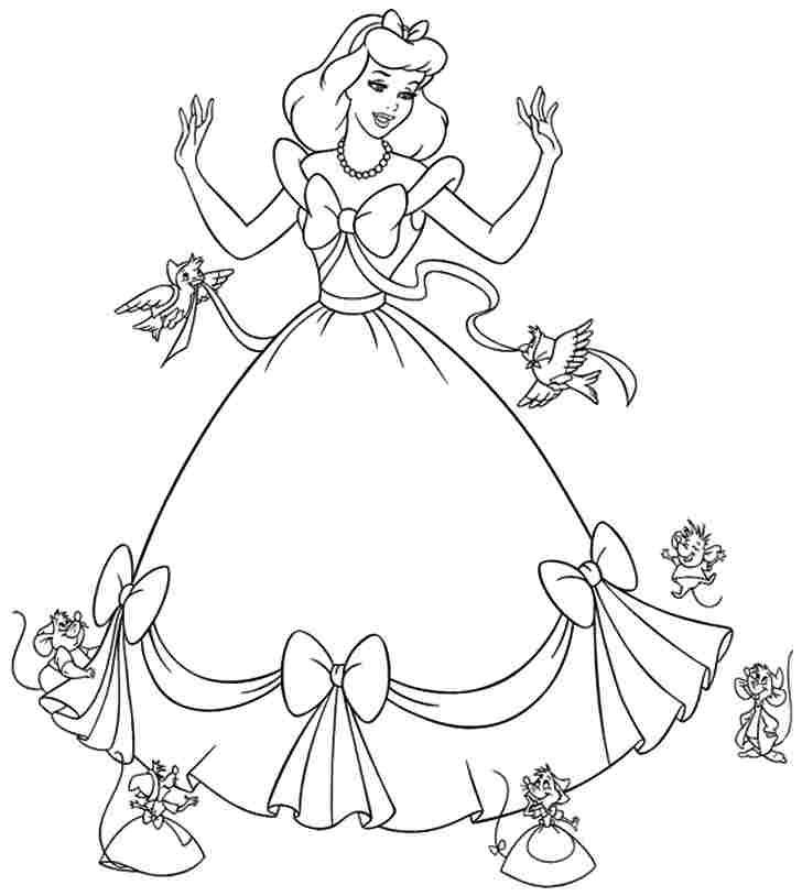 728x814 Disney Princess Cinderella Coloring Pages Printable