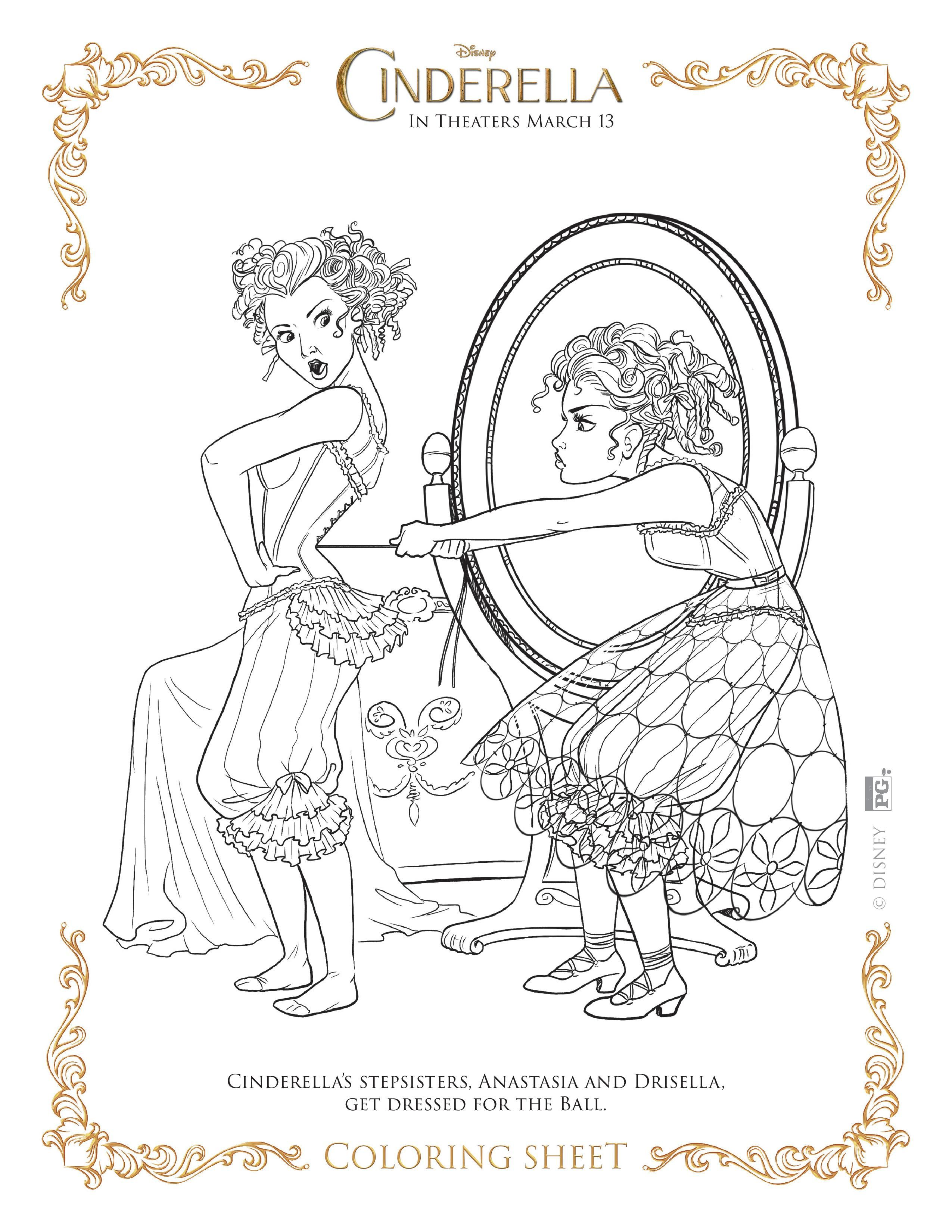 2550x3300 New Disney's Cinderella Coloring Pages And Activity Sheets