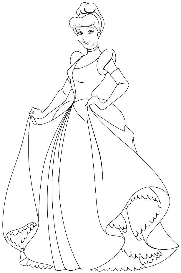 615x925 Princess Cinderella Coloring Pages Princess Coloring Pages Disney