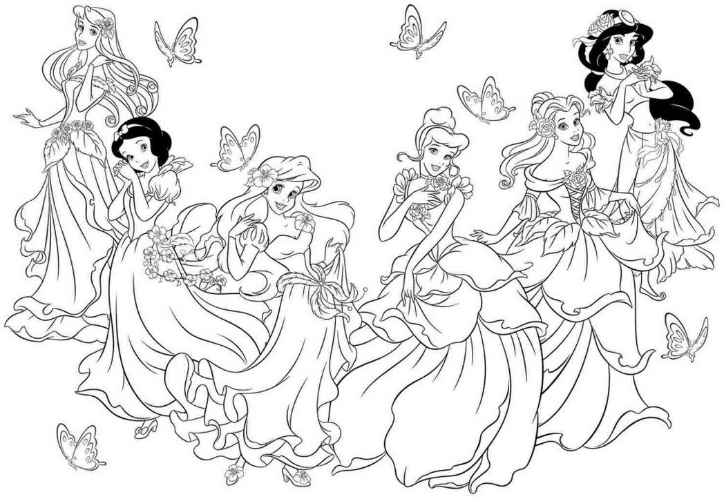 1048x723 Disney Princess Coloring Pages For Girls