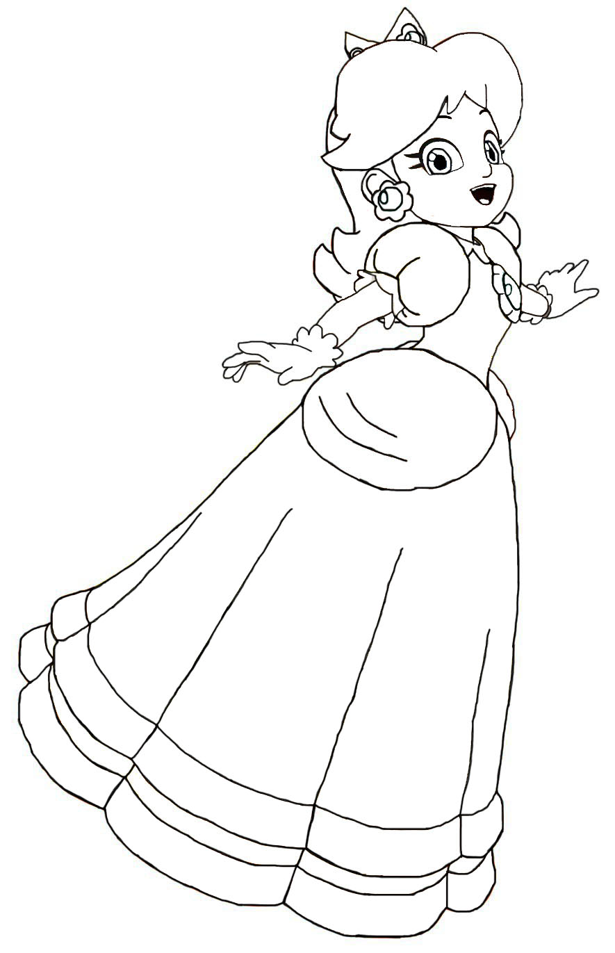 885x1371 Paper Princess Daisy Coloring Pages Super Paper Mario Coloring