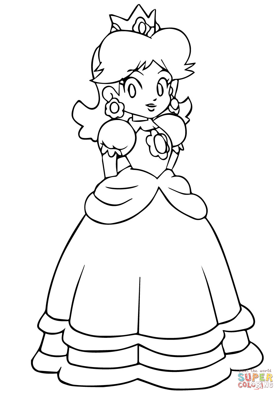 919x1300 Mario Daisy Coloring Page Free Printable Coloring Pages Princess