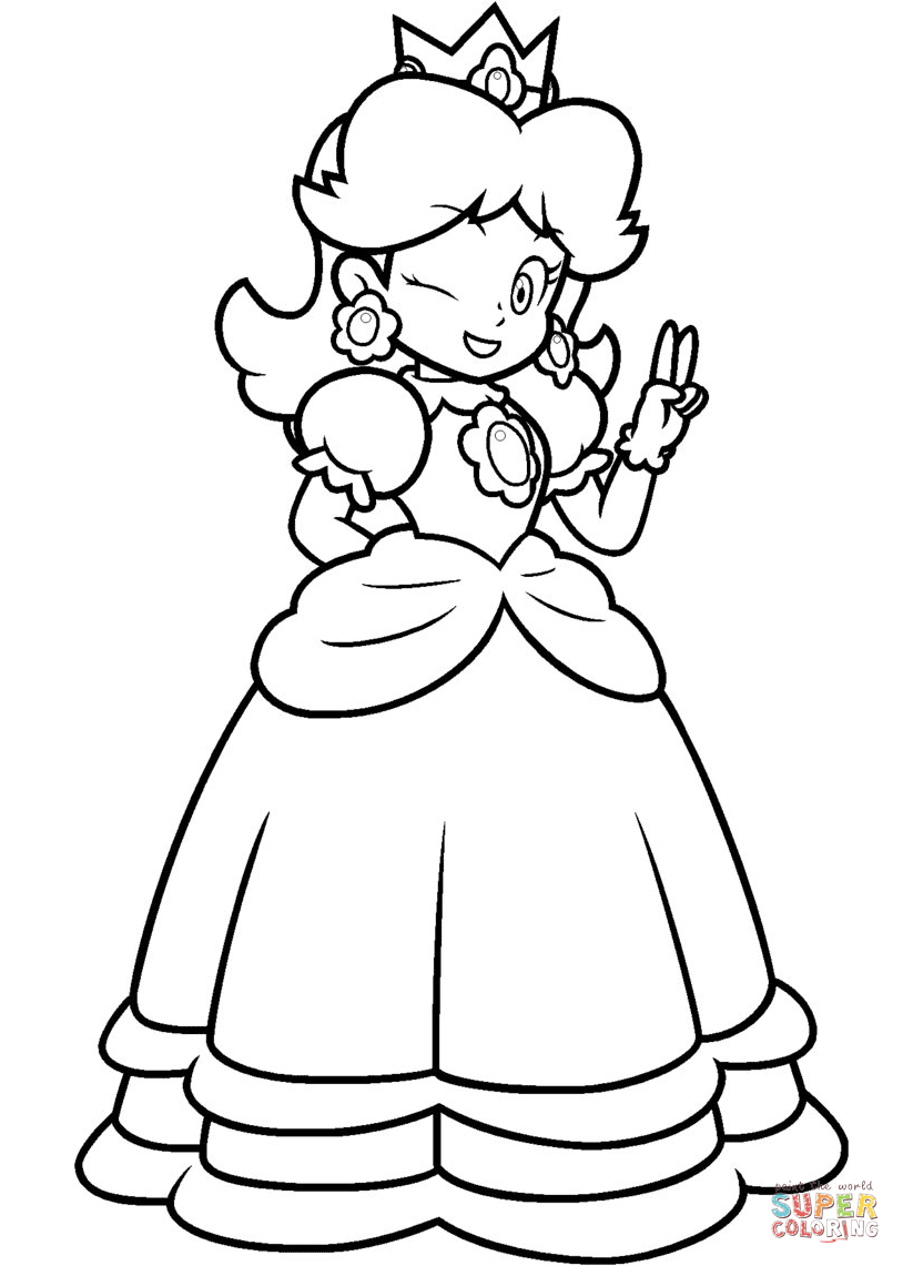 814x1141 Princess Daisy Coloring Pages Mario Page Free Printable Arilitv