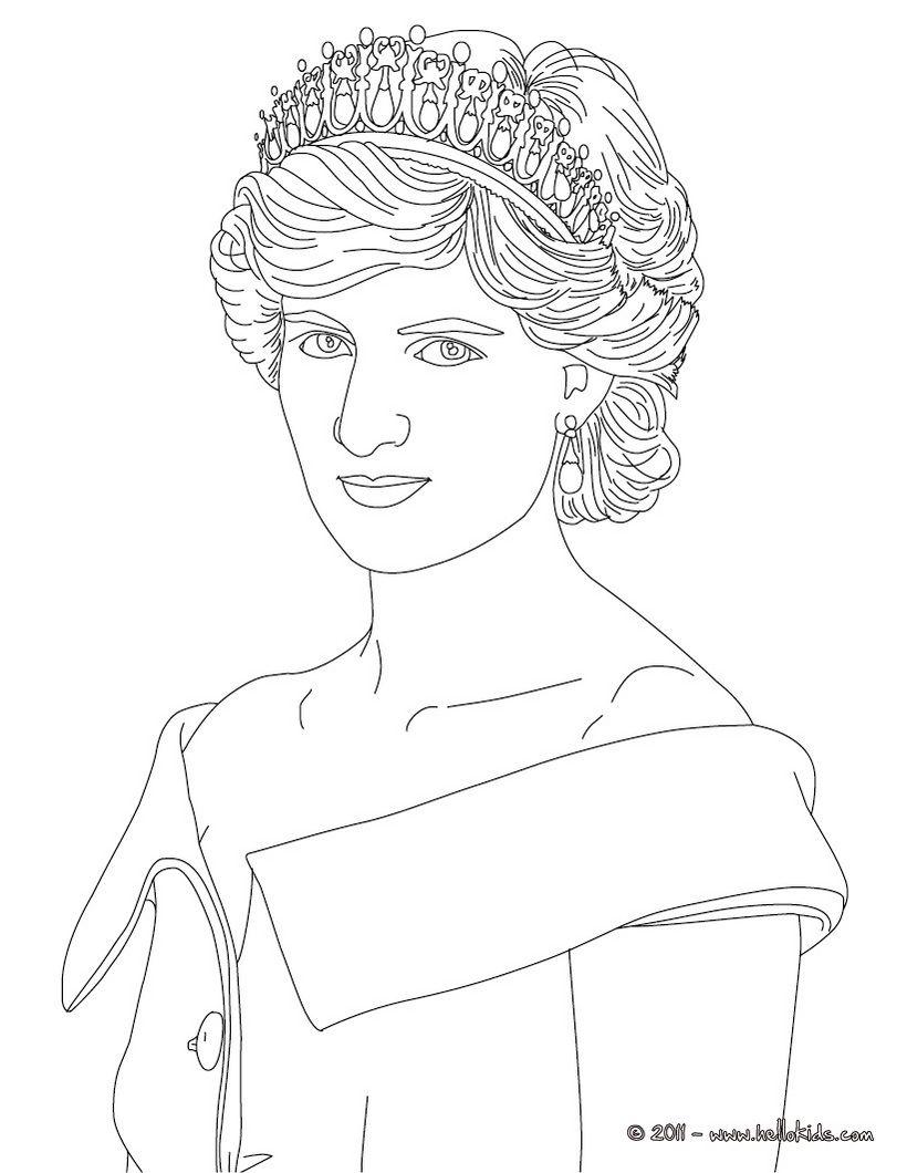 820x1060 Princess Diana Of Wales Colouring Page