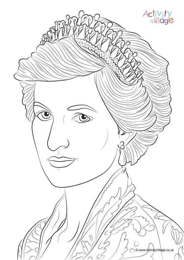 600x848 Princess Diana Colouring Page