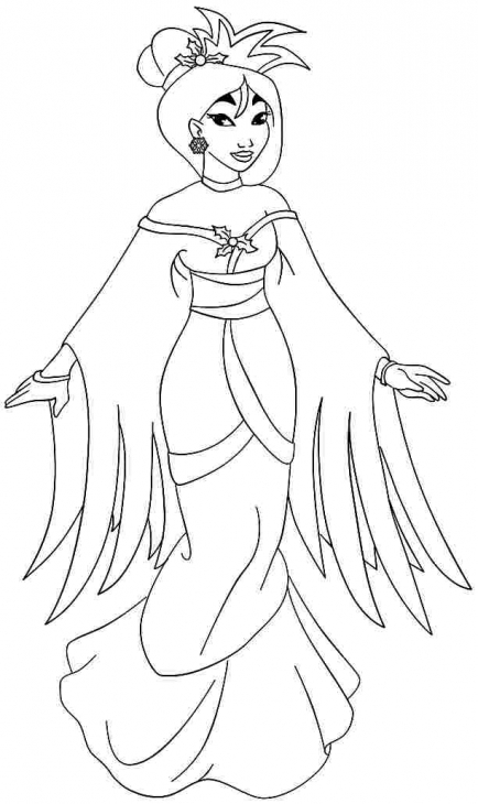 434x730 Lovely Princess Mulan In Traditional Dress Coloring Page Disney