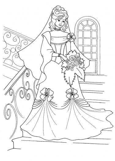 376x525 Princess And Her Wedding Dress Coloring Page Super Coloring