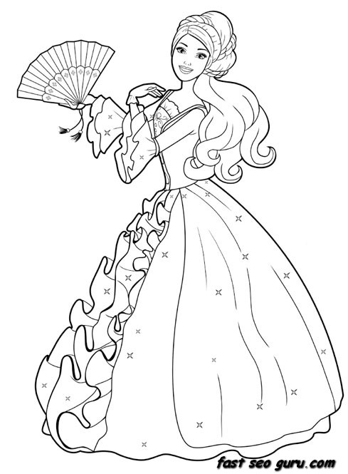 489x665 Printable Barbie Princess Dress Colouring Book Pages Kids Ideas